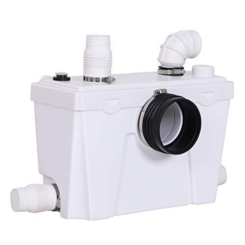 HOMCOM Bomba Trituradora Sanitaria de Agua Residual con 400W y 4 Entradas para Baño Cocina y Lavabo...